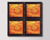 Orange Landscape  Sunset, Large Print Set of 4 Four pieces, Print of Original Watercolor Paiting,  Wall  & Home decor