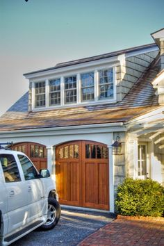 Garage with Shed Dormer (Beautiful trim/cedar siding and nice proportions. Garage Design, Exterior Design, House Design, Colonial Exterior, Garage House, Garage Doors, Garage Windows, Garage Loft, Garage Entry