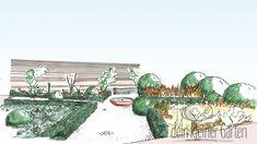 Handzeichnung, koloriert: Perspektivischer Blick in einen Reihenhausgarten von der Terrasse zur Sichtschutzwand am anderen Ende. Der Blick folgt einem Weg, der den ganzen Garten schräg durchschneidet und von einem zweiten rechtwinklig in der Mitte gekreuzt wird. An der Kreuzung steht eine Brunnenschale. Die Beete sind mit unterschiedlichen Pflanzen und Strukturen gestaltet. Hair Beauty, Lawn, Porches, Plants, Woman, Cute Hair