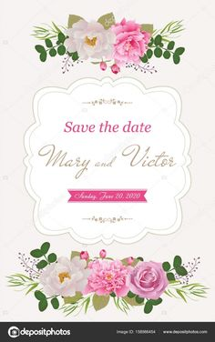 Wedding invitation cards with flower. Beautiful white and pink peonies and rose. (Use for Boarding Pass, invitations, , Ambigram Tattoo, Hebrew Tattoo, Christ Tattoo, L Tattoo, Jesus Tattoo, Dove Tattoos, Hand Tattoos, Serenity Prayer Tattoo, Think Tattoo