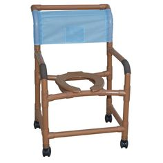 "Deluxe Wide Wood Tone Shower Chair - PVC -   Wood Tone PVC (Healthcare grade) that allows DME to be non-institutional looking. Comes assembled except for the casters. Wide. Healthcare grade deluxe elongated open front seat enhances resident comfort Anti-slip handigrips. Fast drying removable mesh back/sling. Reinforced at all stress related areas. Internal width: 22"". External width: 26"". Threaded stem casters: 3"" x 1""."
