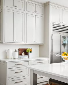 Light gray kitchen cabinets london+gray+quartz+countertops - Centered by Design Inset Cabinets, Refacing Kitchen Cabinets, Cabinet Refacing, Cabinet Trim, Granite Kitchen, Cabinet Ideas, Cabinet Doors, Light Grey Kitchens, Black Kitchens