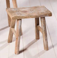 rustikales Holzhocker-Set aus hellbraun gekalktem Kiefernholz - TREND!