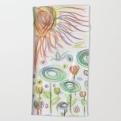 Impressionist Folk Garden With Ephemeria Beach Towel by beebeedeigner Beach Towel, Summer Beach, Impressionist, Summertime, Folk, Seasons, Contemporary, Garden, Artist