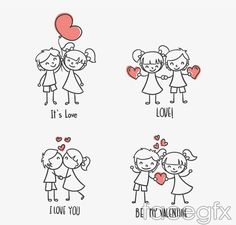 Hand-painted children couples vector