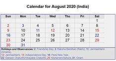 August 2020 Calendar with Holidays - USA, UK, Canada, India, Australia August Calendar, Holiday Calendar, Calendar 2020, Israel Holidays, India Holidays, August Holidays, Calendar Layout, Monthly Calendar Template, Handbags