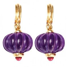 Earrings with amethysts and rubies by Syna