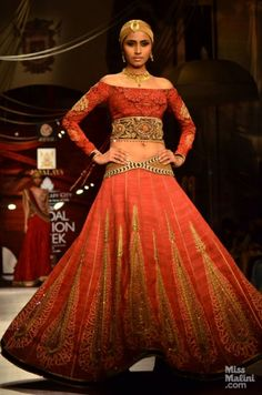 J J Valaya at Indian Bridal Fashion Week, 2013. orange bridal lehenga for an indian wedding