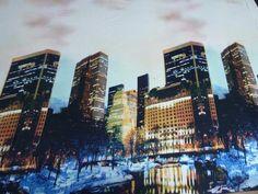 Stoff+Designer+Jersey+Digitaldruck+Skyline+blau+von+OUTLET-TOWN+auf+DaWanda.com