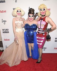 Pearl Liaison, Ginger Minj, and Violet Chachki at the RPDR7 Finale Red Carpet, with Trixie Mattel Face Swap, hilarious.
