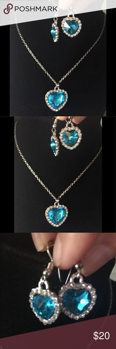 Heart of the ocean blue necklace crystal alloy HEART OF THE OCEAN Titanic Aquamarine Crystal Necklace and earrings. Nice stocking stuffer. Jewelry Necklaces