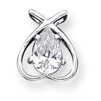 Sterling Silver CZ Pendant With Chain - 18 Inch - Lobster Claw - JewelryWeb JewelryWeb. $51.60