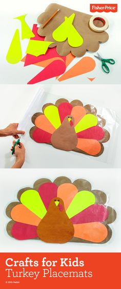 Make these DIY turkey placemats for the kids to use during their special Thanksgiving meal. If you have time and energy, make enough for each family member! Look for holiday crafts like this one and more, at Fisher-Price.com.