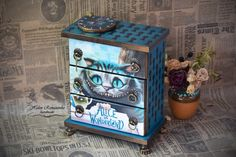 Alice in Wonderland furniture Cheshire Cat baby box aiw jewelry box Tim style Mad Hatter Mini chest of drawers Alice Rapsodiya Furniture Makeover, Diy Furniture, Jewelry Box Makeover, Baby Box, Hand Painted Furniture, Painted Wooden Boxes, Cheshire Cat, Decorative Boxes, Crafty