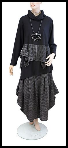 Difera Lagenlook skirt Monia and turtle-neck top Mix and Match