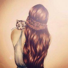 chica y su gatito