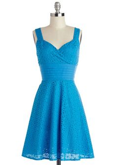 Color is Key Dress - Blue, Solid, Eyelet, Pleats, Ruching, Daytime Party, A-line, Sleeveless, Better, Sweetheart, Chiffon, Woven, Mid-length...