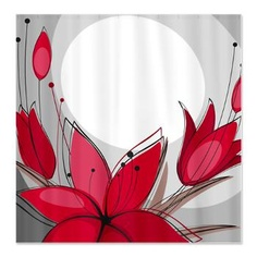 Red Flowers and Moon Shower Curtain