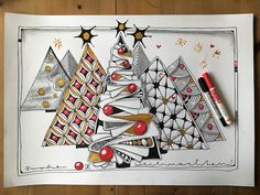 Last week I was busy with tangling. and had a lot of fun! Dibujos Zentangle Art, Zentangle Drawings, Doodles Zentangles, Zentangle Patterns, Christmas Doodles, Christmas Drawing, Christmas Art, Zen Doodle, Doodle Art