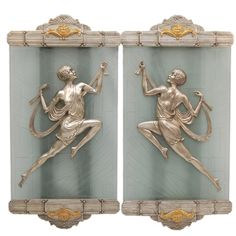 Brass Lady Sconces With Acid Etched Glass. LARGE, CLASSIC, RARE & PURE ART DECO! $6500
