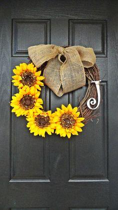 El verano y otoño girasol guirnalda con monograma blanco arpillera precioso arco