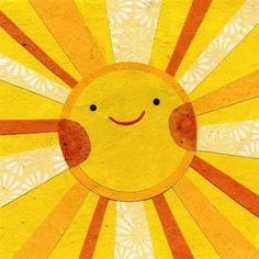 """Sunny Sun"" cut paper picture by Kate Endle Collage on Etsy. Collage Nature, Baby Collage, Art Soleil, 3d Art, You Are My Sunshine, Happy Sunshine, Good Day Sunshine, Mellow Yellow, Yellow Sun"