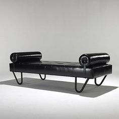 Jacques Adnet; Enameled Metal and Leather Daybed, 1950s.