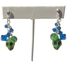 LOLITA50 for 50% off all Lolita and Skulls Jewelry    Green Skulls Green Crystal and Blue Swarovski by EBLDesigns, $15.00