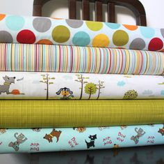 Bright Blue Green and Red Puppy and Tree Fabric, Puppy Park By Bella Blvd For Riley Blake, 1 Yard Bundle, 5 Prints, 5 Yards Total. $41.25, via Etsy.