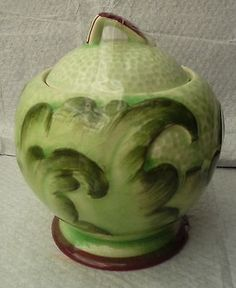 VINTAGE GREEN HAND PAINTED MARMALADE PRESERVE POT