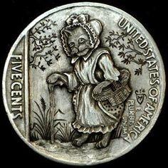 HOWARD THOMAS HOBO NICKEL - GRANDMA KITTY - 1936 BUFFALO NICKEL REVERSE CARVING Hobo Nickel, Coin Art, Art Forms, Sculpture Art, Buffalo, Coins, Miniatures, Kitty, Carving