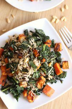 Wild rice and kale salad with smoky sweet potatoes