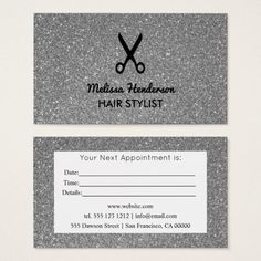 Silver Glitter Hair Stylist Modern Appointment Business Card