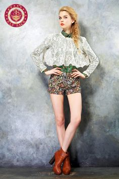 Womens Hot Retro Rural Style Floral Pattern Girls Fashion Shorts