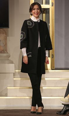 Mary, Crown Princess of Denmark's style was on point (and so were those studded shoes!) as she attended the Designers Nest Show during Copenhagen Fashion Week.   Photo: Rob Ball/Getty Images