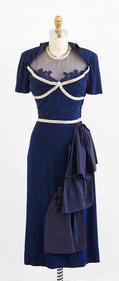 r e s e r v e d - vintage 1940s dress / 40s dress / Navy Blue Beaded Illusion…