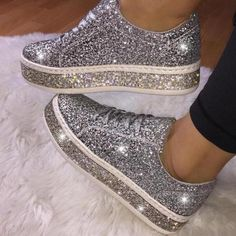 US$ 45.95 - Fashion Rhinestone Paillette Lace-Up Low-Heel Single Shoes - m.mensootd.com Sparkle Shoes, Bling Shoes, Glitter Shoes, Bling Bling, Sequin Shoes, Rhinestone Shoes, Casual Sneakers, Sneakers Fashion, Casual Shoes