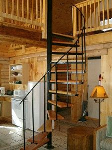 cabin with spiral staircase to loft - Google Search