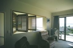 Interior Windows Between Rooms | Contemporary Room Dividers - Interior Shutters | Santa Fe Shutters