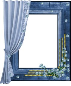 Blue Transparent PNG Frame with Curtain