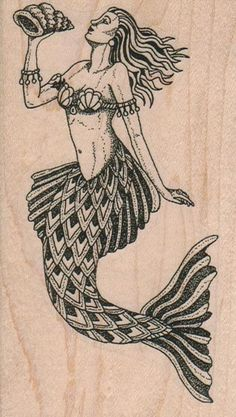 Mermaid     rubber stamps place cards gifts  by pinkflamingo61, $11.50