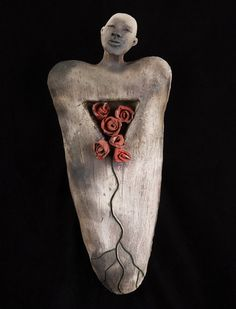 Kat McIver: It is By Grace -White raku, pit fired, underglaze