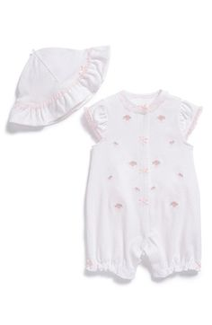 Little Me 'Little Flowers' Romper & Hat (Baby Girls) available at #Nordstrom