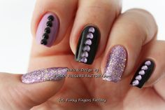 Hearts and Glitters nails by www.funkyfingersfactory.com