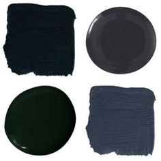 Clockwise from top left: • Benjamin Moore Black Satin 2131-10 • Benjamin Moore's Ultra Spec 500 in Black • Benjamin Moore's Impervo Black Forest Green  • Farrow & Ball's Black Blue 95 Or also try... • Fine Paints of Europe's Hollandlac Brilliant Black or S9000-N • Benjamin Moore's HC-166 Kendall Charcoal   - ELLEDecor.com