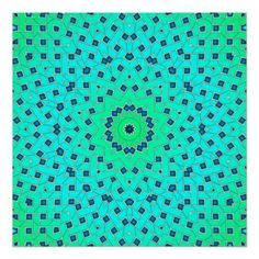 Blue Green Ice Lattice Tile 310 Print