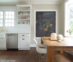 Cabinets painted BM Simply White. Wall behind island is painted Benjamin Moore Edgecomb Gray.
