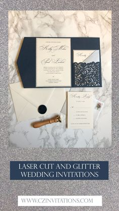 Navy and Silver glitter Laser Invitation! This lace details gives this set such an elegant look. Add a pop of glitter with the silver mat and belly band. Seal the deal with a custom wax seal! Glitter Wedding Invitations, Pocket Wedding Invitations, Unique Invitations, Wedding Invitation Wording, Wedding Stationery, Wedding Prep, Blue Wedding, Spring Wedding, Pocket Invitation