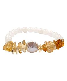 Take a look at this Citrine & Jade Coin Stretch Bracelet today!