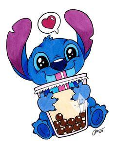Boba Stitch - Illustration Art Print - - disney fan art lilo and stitch boba cute Cartoon Wallpaper Iphone, Cute Disney Wallpaper, Cute Cartoon Wallpapers, Cute Disney Drawings, Kawaii Drawings, Easy Drawings, Lilo Ve Stitch, Disney Stitch, Stitch Drawing